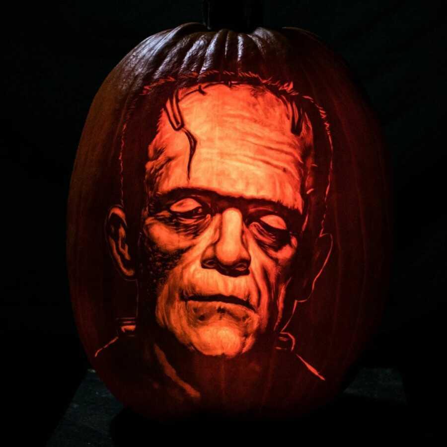 Realistic pumpkin carving of Frankenstein, created by Maniac Pumpkin Carvers.