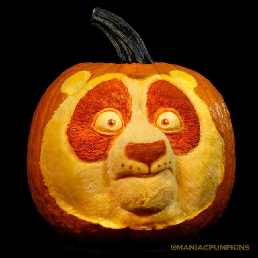 Pumpkin sculpture of Kung Fu Panda, created by Maniac Pumpkin Carvers.
