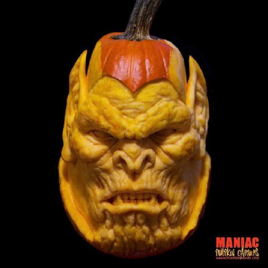 Incredible pumpkin sculpted face, created by Maniac Pumpkin Carvers.