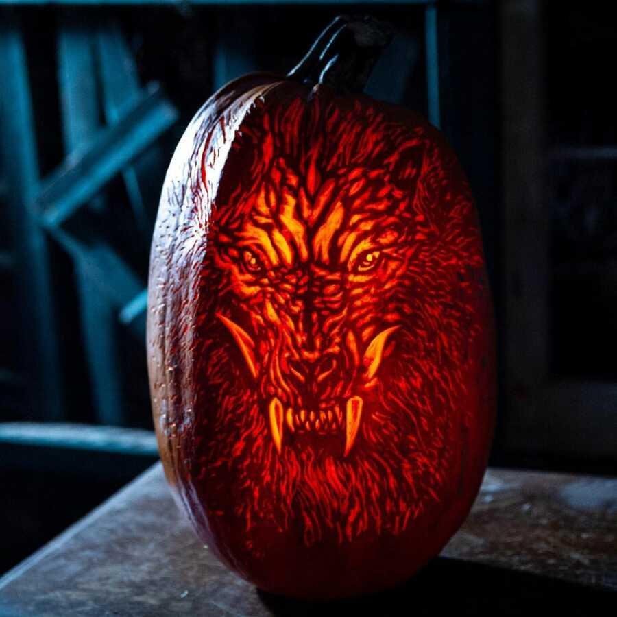 Amazing werewolf pumpkin carving, created by Maniac Pumpkin Carvers.