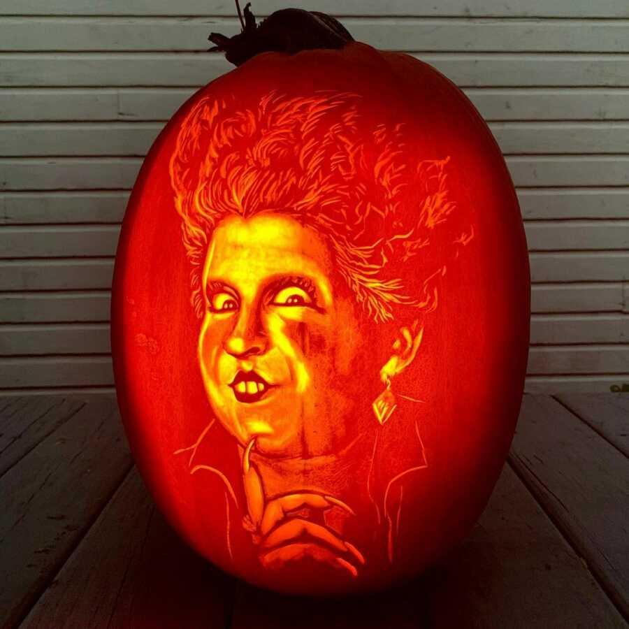 Hocus Pocus pumpkin carving, created by Maniac Pumpkin Carvers.