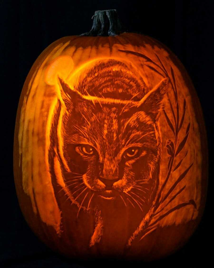Detailed pumpkin carving of a black cat, created by Maniac Pumpkin Carvers.