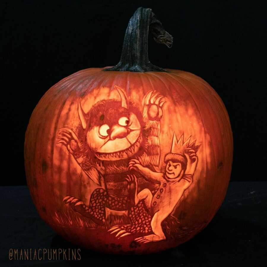 Detailed pumpkin carving of Where The Wild Things Are, created by Maniac Pumpkin Carvers.