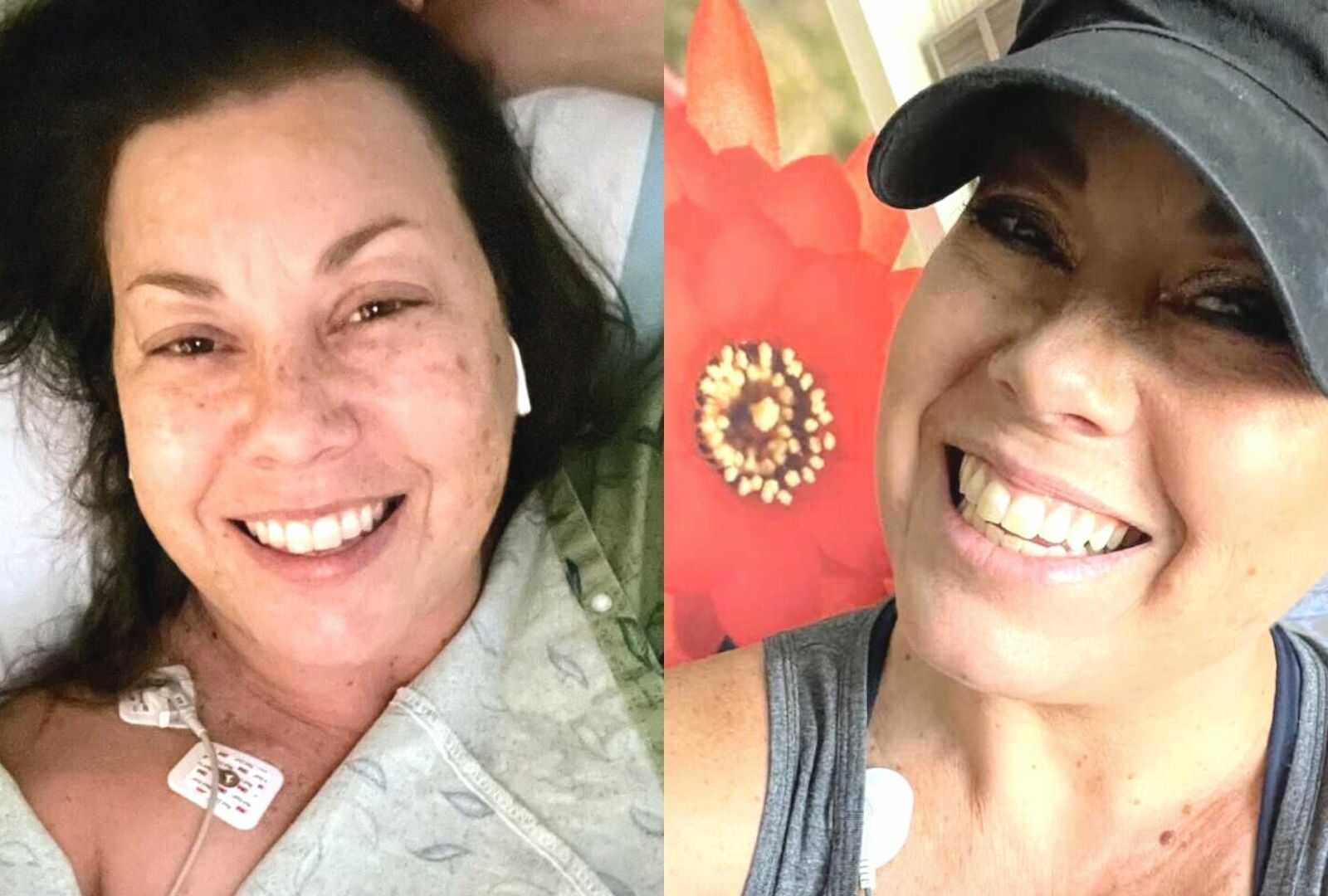 Stroke patient lying in hospital and woman smiling