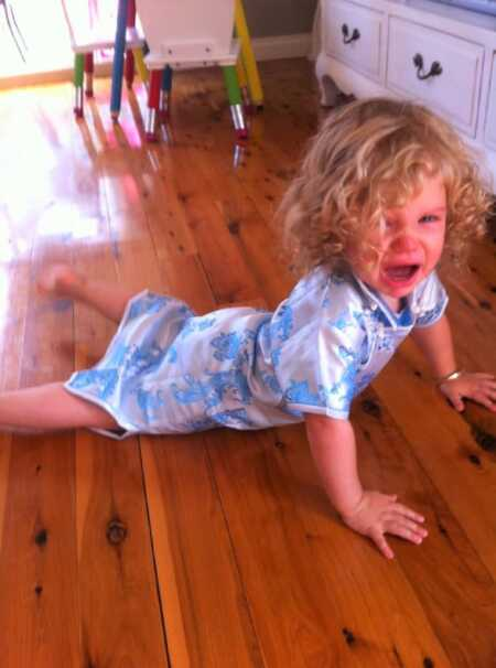 Toddler throwing a tantrum because she couldn't eat tampons.